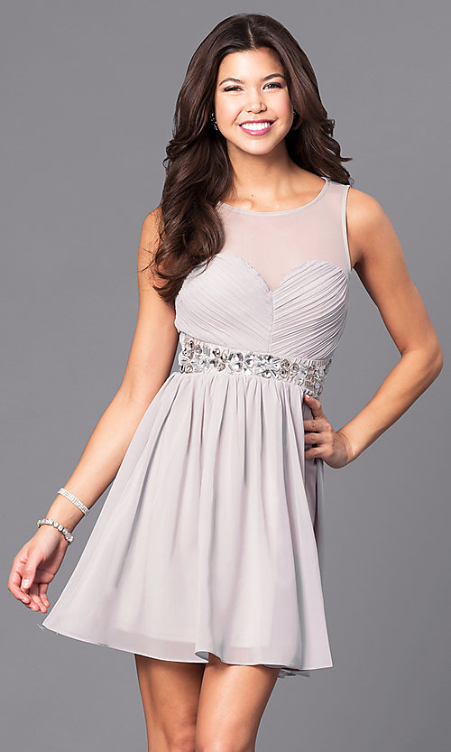Image of illusion sweetheart short party dress with jewels. Style: LP-24173 Front Image