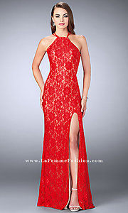 Image of La Femme long lace prom dress with open back. Style: LF-24293 Detail Image 3
