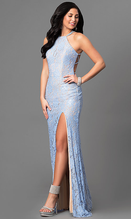 Image of La Femme long lace prom dress with open back. Style: LF-24293 Front Image