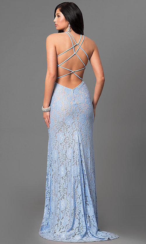 Image of La Femme long lace prom dress with open back. Style: LF-24293 Back Image