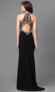 Image of long formal prom dress with beaded sheer bodice. Style: LN-SP-J527 Back Image