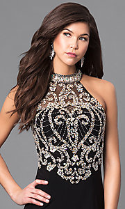 Image of long formal prom dress with beaded sheer bodice. Style: LN-SP-J527 Detail Image 1