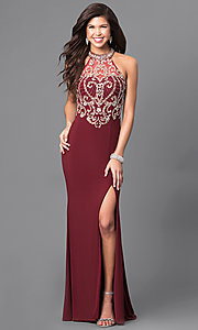 Image of long formal prom dress with beaded sheer bodice. Style: LN-SP-J527 Front Image