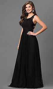 Image of long black prom dress with lace and back cut outs. Style: DMO-J316617 Front Image