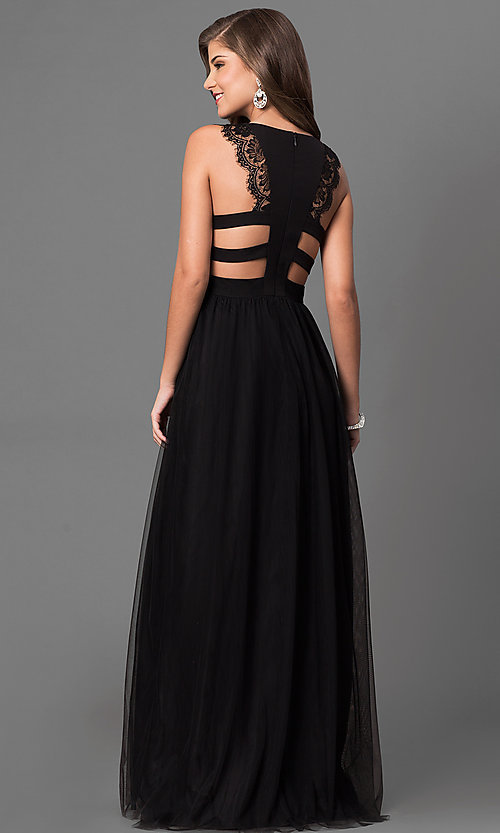 Image of long black prom dress with lace and back cut outs. Style: DMO-J316617 Back Image