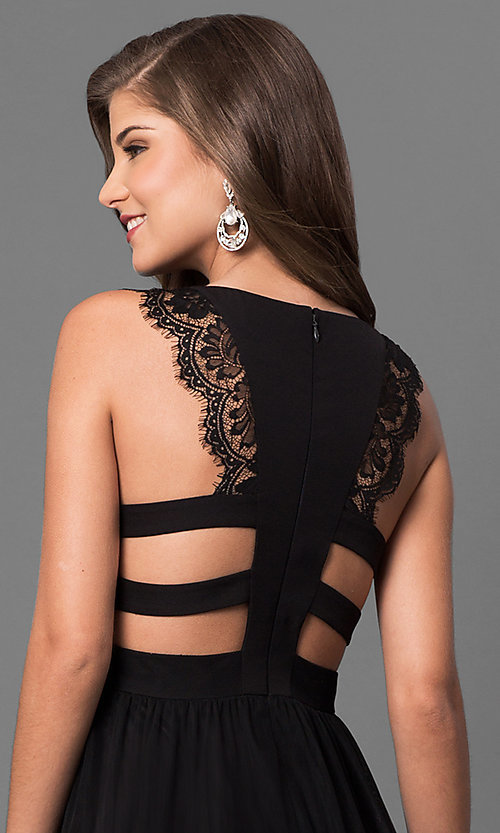 Image of long black prom dress with lace and back cut outs. Style: DMO-J316617 Detail Image 1
