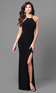 Image of open-back long formal prom dress with high neck. Style: CD-GL-G650 Detail Image 2