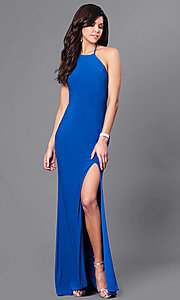 Image of open-back long formal prom dress with high neck. Style: CD-GL-G650 Back Image