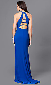 Image of open-back long formal prom dress with high neck. Style: CD-GL-G650 Front Image