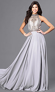 Image of high-neck long prom dress with beaded illusion bodice. Style: CD-GL-G723 Detail Image 1