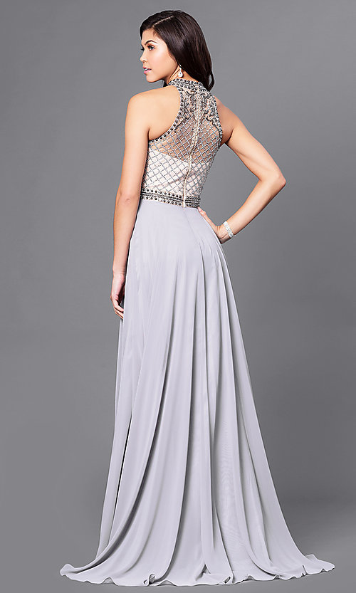 Image of high-neck long prom dress with beaded illusion bodice. Style: CD-GL-G723 Back Image