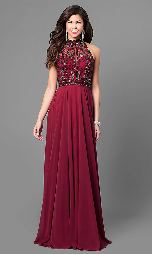 Image of high-neck long prom dress with beaded illusion bodice. Style: CD-GL-G723 Front Image