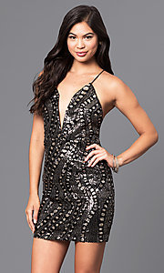 Image of short holiday sequined party dress with v-neckline. Style: LUX-LD3325 Front Image