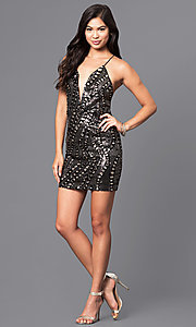 Image of short holiday sequined party dress with v-neckline. Style: LUX-LD3325 Detail Image 1