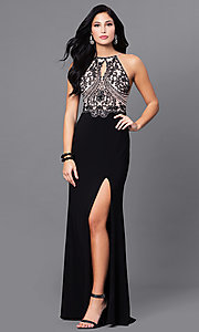 Image of long black prom dress with beaded nude bodice. Style: BN-156117 Front Image
