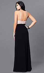 Image of long black prom dress with beaded nude bodice. Style: BN-156117 Back Image