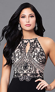 Image of long black prom dress with beaded nude bodice. Style: BN-156117 Detail Image 1