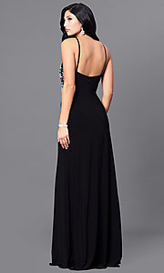 Image of long black junior prom dress with beading. Style: BN-B57008 Back Image