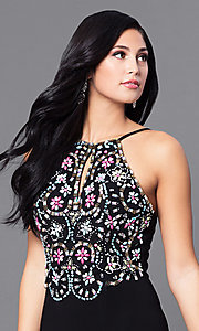 Image of long black junior prom dress with beading. Style: BN-B57008 Detail Image 1