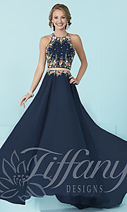 Image of high-neck Tiffany mock two-piece prom dress.  Style: TF-16206 Front Image