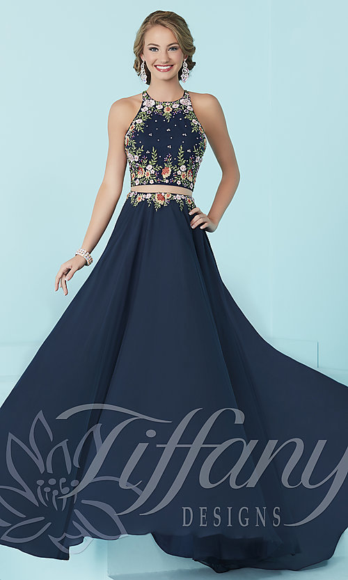 Tiffany Mock Two-Piece High-Neck Prom Dress