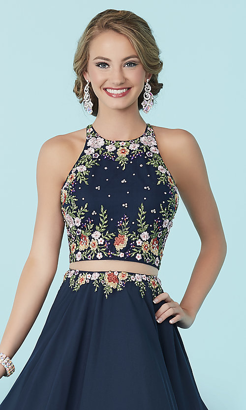 Image of high-neck Tiffany mock two-piece prom dress.  Style: TF-16206 Detail Image 1