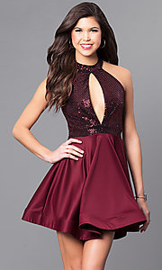 Image of short holiday party dress with high-neck sequin bodice. Style: DC-44556 Detail Image 1