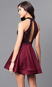 Image of short holiday party dress with high-neck sequin bodice. Style: DC-44556 Back Image