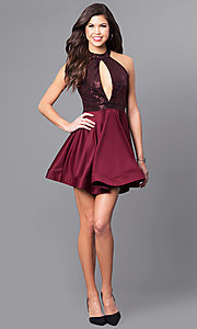 Image of short holiday party dress with high-neck sequin bodice. Style: DC-44556 Detail Image 2