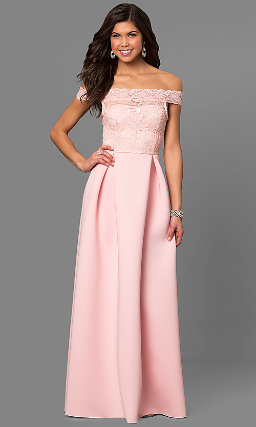 Image of off-the-shoulder long prom dress with lace bodice.  Style: CL-44629 Front Image