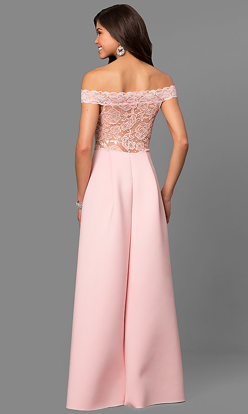 Image of off-the-shoulder long prom dress with lace bodice.  Style: CL-44629 Back Image