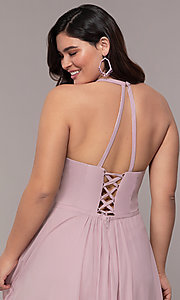 Image of Faviana floor-length plus-size corset prom dress.  Style: FA-9397 Detail Image 2