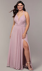 Image of Faviana floor-length plus-size corset prom dress.  Style: FA-9397 Front Image