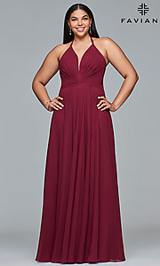 Image of Faviana floor-length plus-size corset prom dress.  Style: FA-9397 Detail Image 3