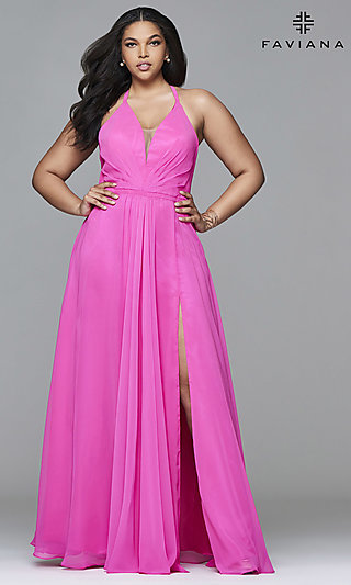Plus-Size Floor-Length Corset Prom Dress by Faviana