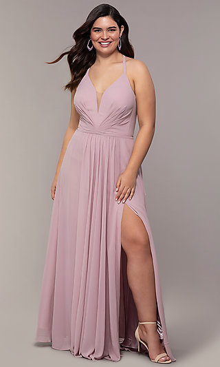 Faviana Floor-Length Plus-Size Corset Prom Dress