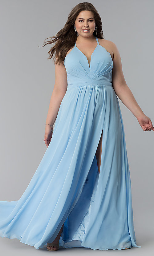 Plus Size Floor Length Corset Prom Dress By Faviana