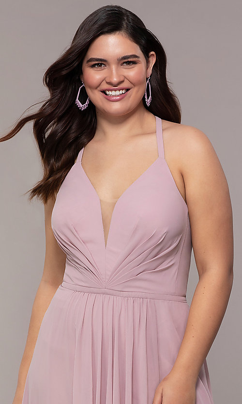 Image of Faviana floor-length plus-size corset prom dress.  Style: FA-9397 Detail Image 1