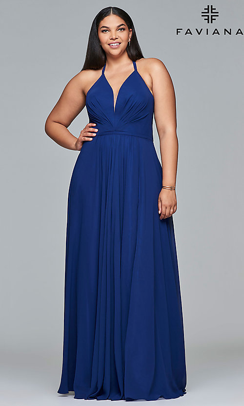 Image of Faviana floor-length plus-size corset prom dress.  Style: FA-9397 Detail Image 6
