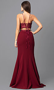Image of two-piece burgundy red long prom dress with corset. Style: MQ-8021107 Back Image