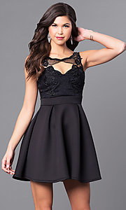 Image of short holiday party dress with embroidered lace.  Style: DC-44832 Front Image