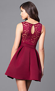 Image of short holiday party dress with embroidered lace.  Style: DC-44832 Back Image