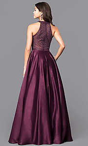 Image of long eggplant purple prom dress with side pockets. Style: CD-1526L Back Image