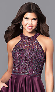 Image of long eggplant purple prom dress with side pockets. Style: CD-1526L Detail Image 1