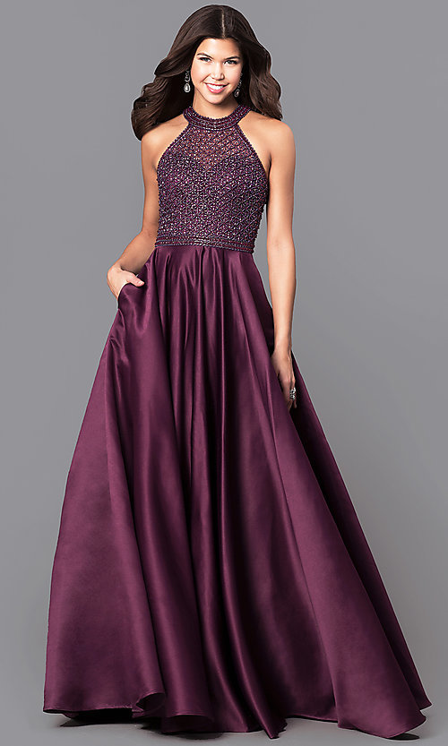 Image of long eggplant purple prom dress with side pockets. Style: CD-1526L Front Image