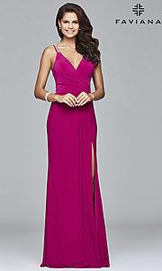 Image of Faviana long formal prom dress with beaded straps. Style: FA-7911 Detail Image 1
