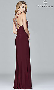 Image of Faviana long formal prom dress with beaded straps. Style: FA-7911 Front Image