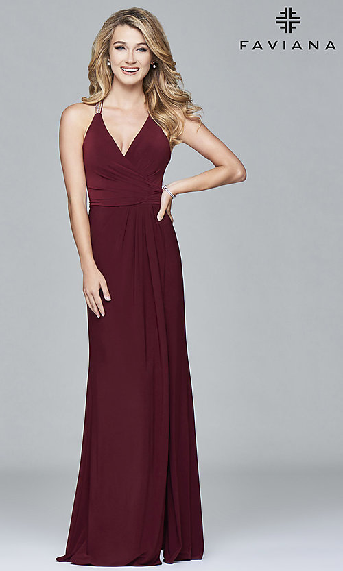 Image of Faviana long formal prom dress with beaded straps. Style: FA-7911 Back Image