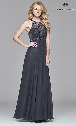 Silver Formal Gowns, Charcoal Gray Prom Dresses