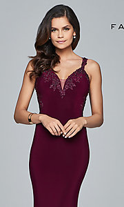 Image of Faviana long formal dress with embroidered lace. Style: FA-S7999 Detail Image 1